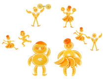 Fat orange imagines himself a dancer and an athlete. Fat little orange imagines himself a dancer and an athlete royalty free stock photos