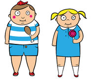 Fat overweight children. Illustration of two overweight children vector illustration