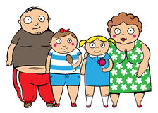 Fat overweight family. Cartoon vector illustration of fat overweight family, children with parents vector illustration
