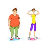 Fat overweight and fit athletic sport man show. Bicep muscles fitness trainer isolated over white background vector illustration Royalty Free Stock Photography
