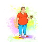 Fat overweight man eat burger, junk fast food. Concept of unhealthy diet over colorful splash paint background, vector illustration Royalty Free Stock Photos