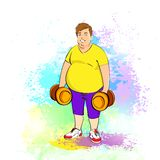 Fat overweight sport man hold dumbbells, cartoon. Guy over colorful splash paint background, vector illustration Stock Photography