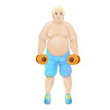 Fat overweight sport man hold dumbbells Royalty Free Stock Images