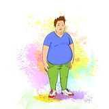 Fat overweight sport man over colorful splash. Paint background, vector illustration Royalty Free Stock Photos