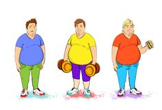 Fat overweight three man set with dumbbell and Stock Photos