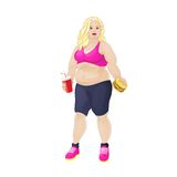 Fat overweight woman eat burger, junk fast food Stock Image