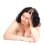 Fat overweight woman in underwear Royalty Free Stock Photos