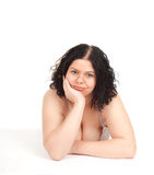 Fat overweight woman in underwear Royalty Free Stock Images