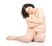 Fat overweight woman in underwear Stock Image