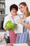 Fat and overweight women talking about nutrition Stock Image