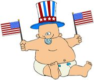 Fat Patriotic Baby royalty free illustration