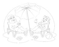 Fat people on the beach. Fat man and woman in beach suits are on selmah under the sun umbrella. Them sunglasses, they drink cocktails. Black and white image for Stock Photos