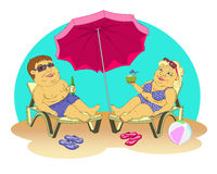Fat people on the beach. Fat man and woman in beach suits are on selmah under the sun umbrella. Them sunglasses, they drink cocktails. Color  illustration Stock Photos