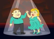 Fat people in beautiful costumes dancing ballroom dancing couple Stock Photos