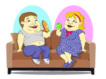 Fat people on the couch. Fat woman in a polka-dot dress with an Apple in hand and a fat man in jeans and a t-shirt with hot dog in hand, sitting on the couch Royalty Free Stock Images