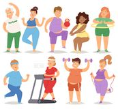 Fat people doing exercise training gym gymnasium sport fatty food rich character workout vector illustration. Royalty Free Stock Photography
