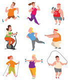 Fat people fitness gym vector. Vector sport and fat people fitness gym color flat icon workout set. Fat people fitness gym fat exercise health workout. Healthy Stock Photos