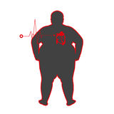 Fat people with heart disease on white Royalty Free Stock Photo
