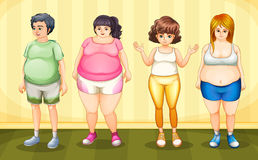 Fat people. Illustration of four fat people standing Stock Photo