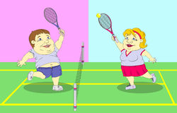 Fat people playing tennis on the court Royalty Free Stock Images