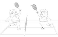 Fat people playing tennis on the court. White and black picture Royalty Free Stock Images