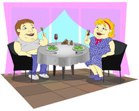 Fat people in the restaurant Royalty Free Stock Photo