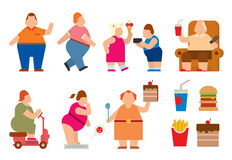 Fat people vector flat silhouette icons Stock Image