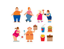 Fat people vector flat silhouette icons royalty free illustration
