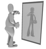 Fat person looking in mirror. Illustration of fat person looking at thin reflection in mirror Stock Photos