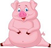Fat pig cartoon Stock Images