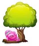 A fat pink beanie monster resting under the giant tree Royalty Free Stock Photography