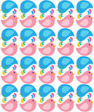 Happy Pink and Blue Birds Pattern Royalty Free Stock Images