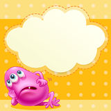A fat pink monster with an empty cloud template at the back Stock Photo