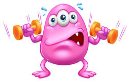 A fat pink monster exercising Royalty Free Stock Photography