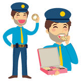Fat Policeman Eating Royalty Free Stock Photo