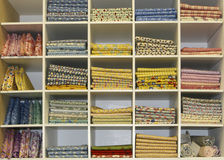 Fat Quarters Quilt Display. Color quilt fat quarters on display for sale royalty free stock image