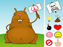 Fat rodent with sign and icon  Royalty Free Stock Photo