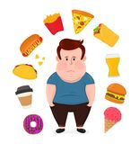 Fat sad young man surrounded by unhealthy. Food.Vector modern flat style cartoon character illustration. Isolated on white background. Fast food concept,burger Stock Images