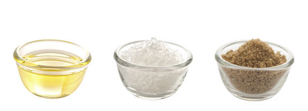 Fat salt and sugar. Close up of the dietary trifecta fat salt and sugar Royalty Free Stock Photo