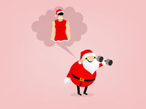 Fat santa claus is holding dumbbell and imagine him self to be shapely Stock Image