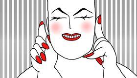 Fat sensual. Fat woman with white skin and red nails, gray striped background Royalty Free Stock Photos