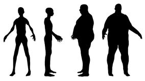Fat and skinny. Silhouettes of fat and skinny men Royalty Free Stock Photo