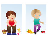 Fat and slim boy Stock Images