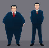 Fat and slim businessmen Stock Photography