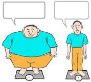 Fat-Slim cartoon men. Royalty Free Stock Photo