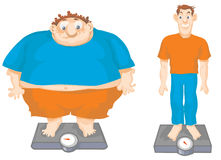 Fat and Slim cartoon men. Cartoon illustration of a comparison between Fat and Slim men Stock Photography
