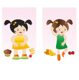 Fat and slim girl Stock Photography