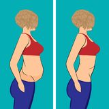 Fat and slim girl before and after royalty free illustration
