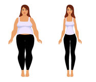 Fat and slim girl. Weight loss fitness. Fat and slim girl. Female body before and after weight loss, diet and fitness. Woman in sportswear isolated Royalty Free Stock Photos