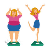 Fat and slim girls. Sadly thick woman and happy slender woman. Stock Photo